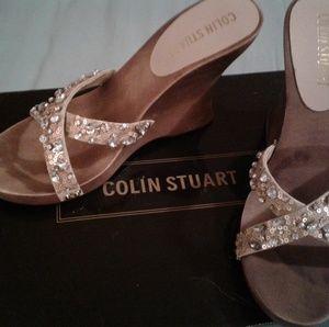 Colin Stuart beaded wedge sandals